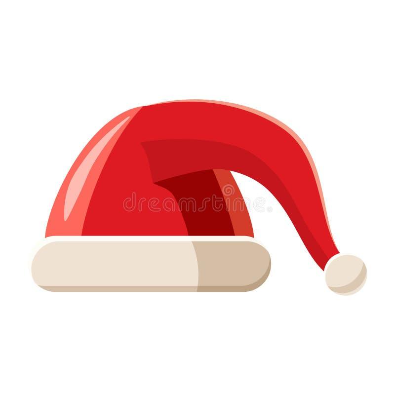 Chapéu vermelho com ícone do pompom, estilo dos desenhos animados ilustração do vetor