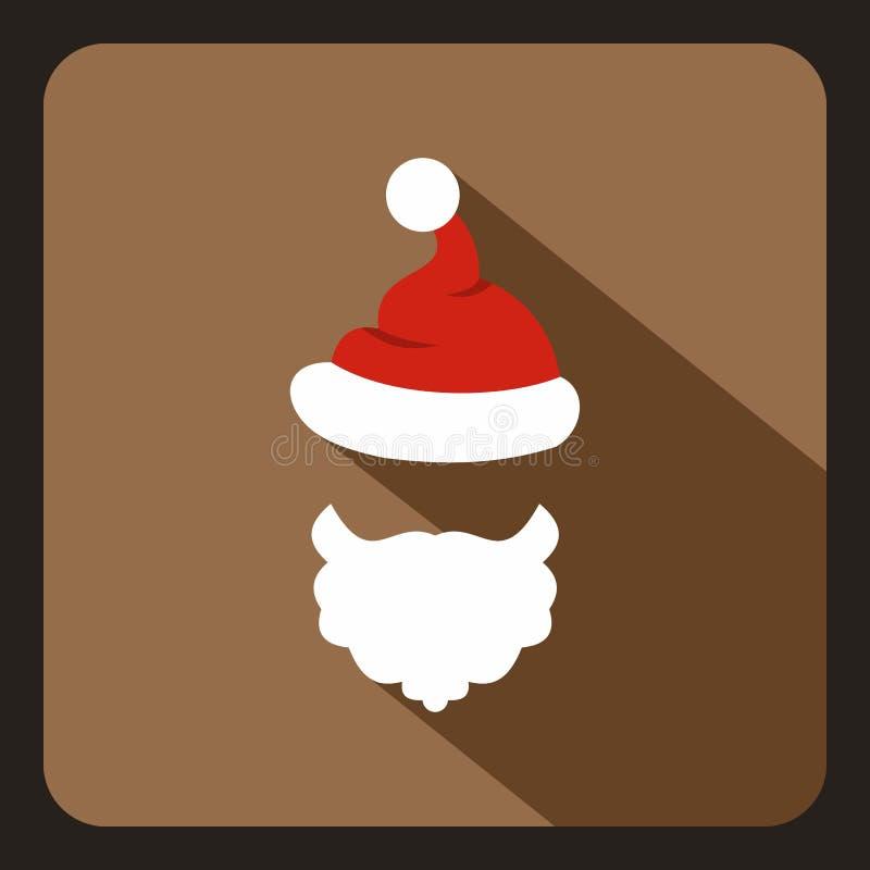 Chapéu vermelho com pompom e barba do ícone de Santa Claus ilustração do vetor