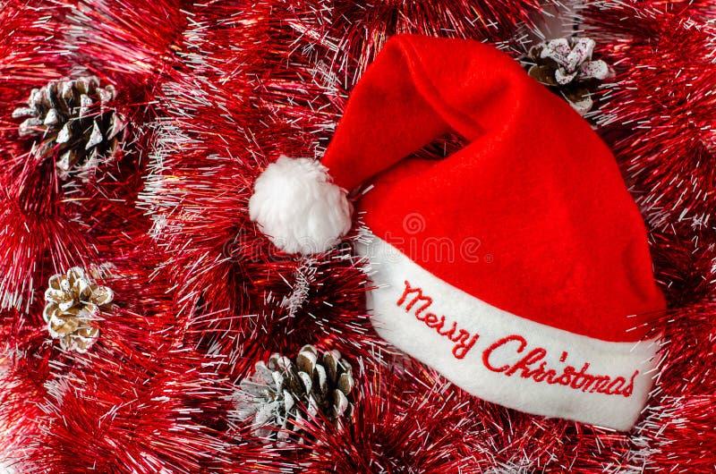 Chapéu vermelho Composição de Natal imagem de stock