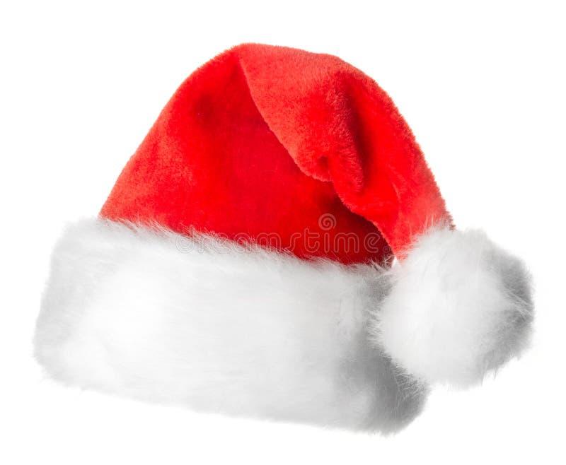 Chapéu vermelho de Santa Claus isolado imagens de stock