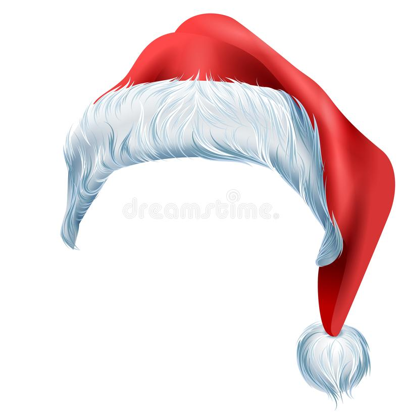 Chapéu vermelho de Santa com pele desgrenhado da borda macia Acessório tradicional do Natal ilustração royalty free