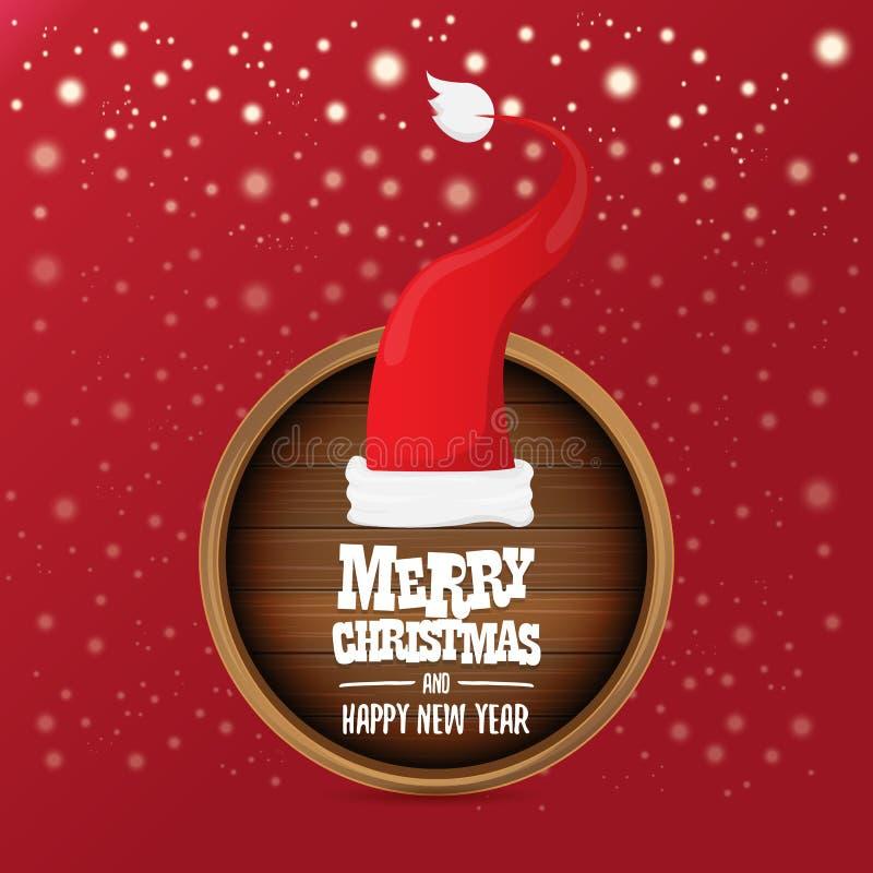 Chapéu vermelho de Santa do vetor com sinal e cumprimento da placa de madeira do círculo do texto do Feliz Natal no fundo vermelh ilustração do vetor