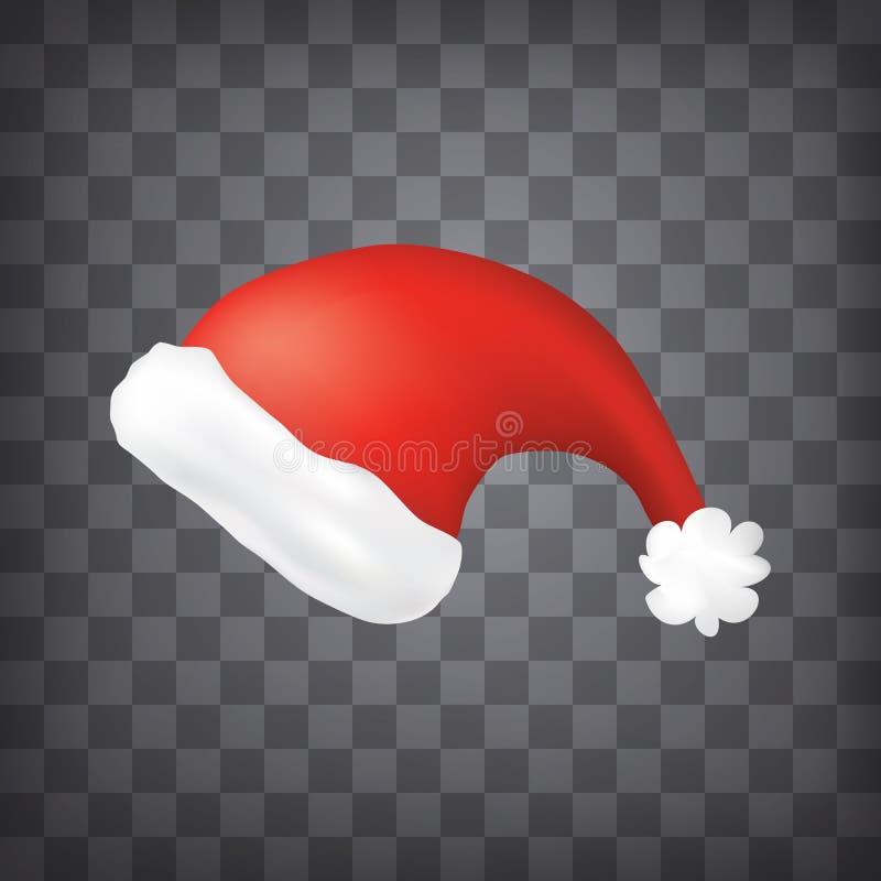 Chapéu vermelho de Santa no fundo chequered ilustração stock