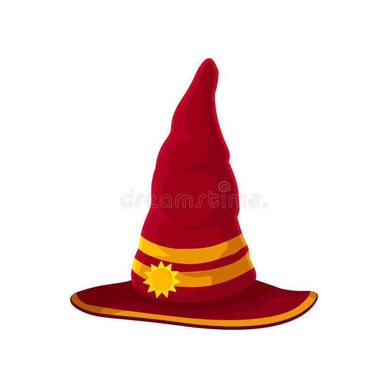 Chapéu vermelho do feiticeiro com as duas fitas douradas Ilustra??o do vetor no fundo branco ilustração stock