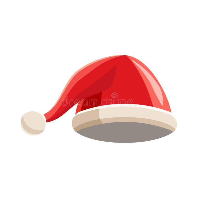 Chapéu vermelho do Natal com ícone do pompom, estilo dos desenhos animados ilustração do vetor