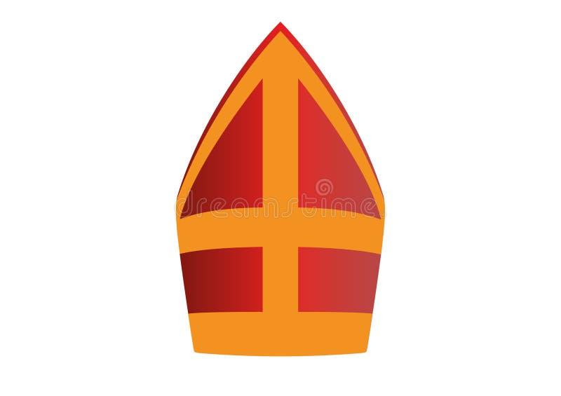 Chapéu vermelho e amarelo de Sinterklaas com cruz imagens de stock royalty free