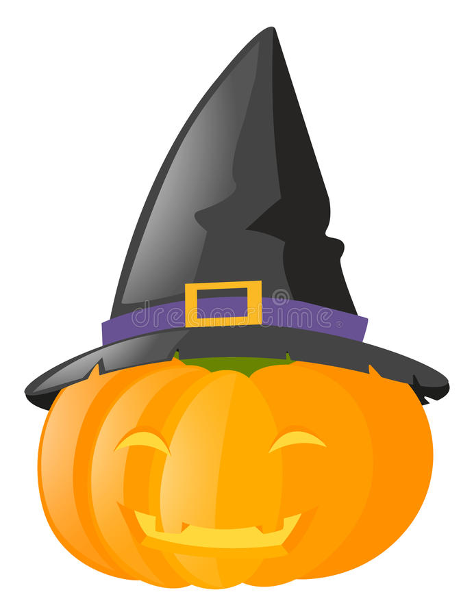 chapéu vestindo da bruxa da Jack-o-lanterna ilustração stock