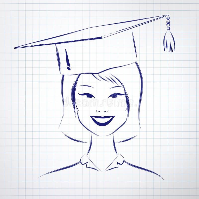 Chapéu vestindo da graduação da menina do estudante ilustração do vetor