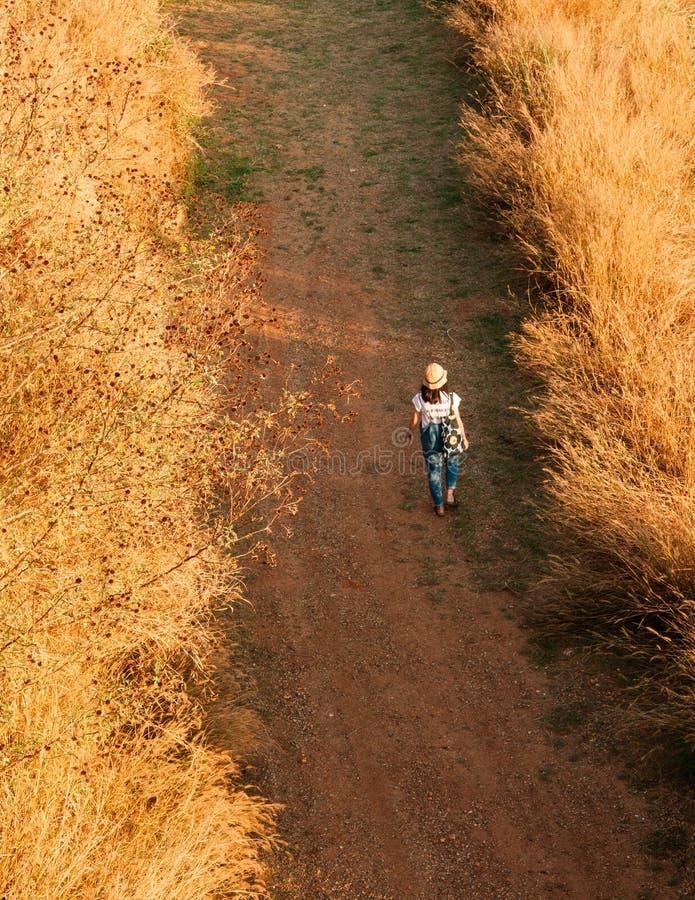 Chapéu vestindo da jovem mulher que anda na estrada de terra no campo de grama secada fotografia de stock