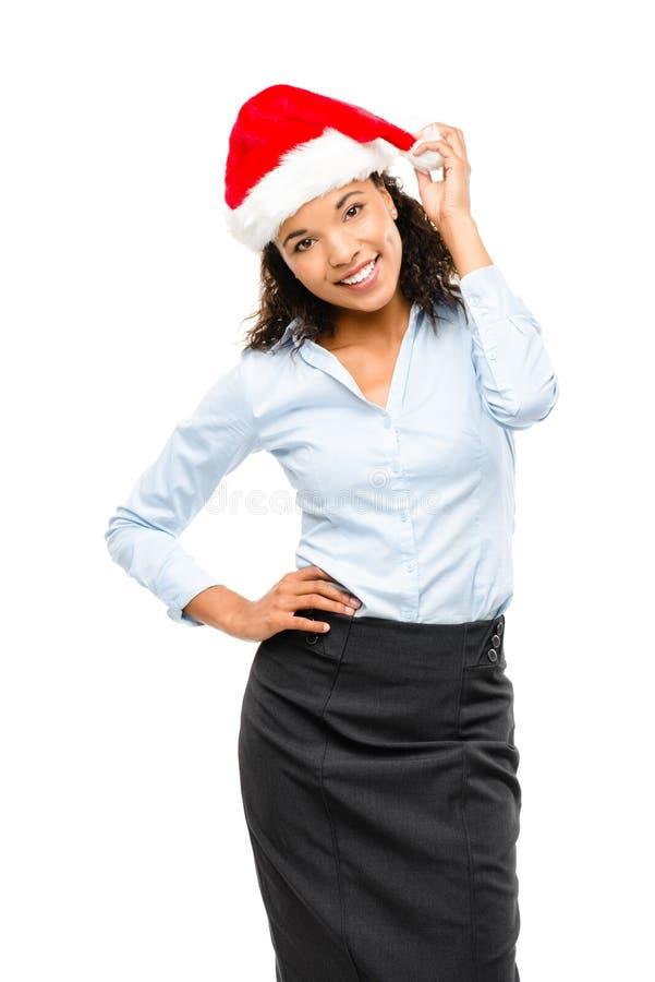 Chapéu vestindo do Natal da mulher de negócios feliz da raça misturada isolado sobre imagem de stock royalty free