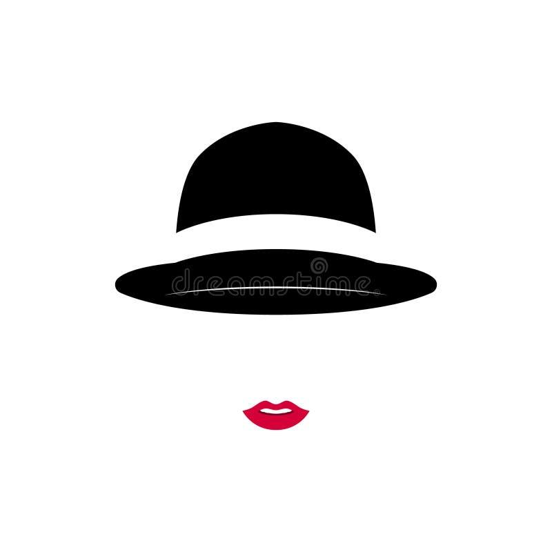 Chapéu vestindo do vintage da senhora bonita no fundo branco ilustração royalty free