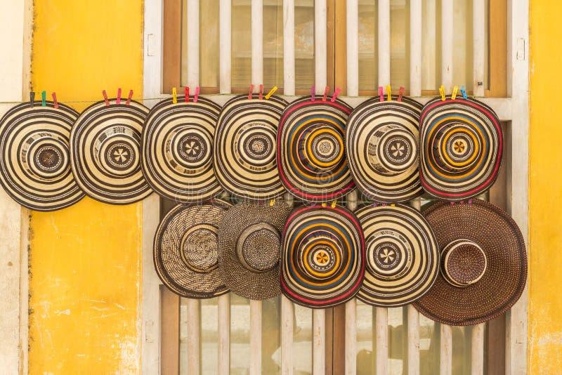 Chapéus colombianos tradicionais fotos de stock