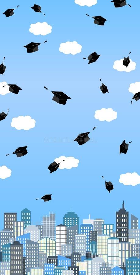 Chapéus da graduação altos acima no ar acima da cidade Bandeira da cerimônia de graduação Cartão do vetor ilustração stock