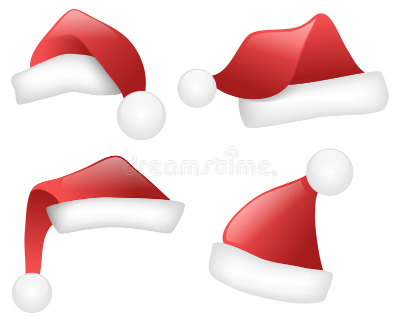 Chapéus de Santa ilustração do vetor