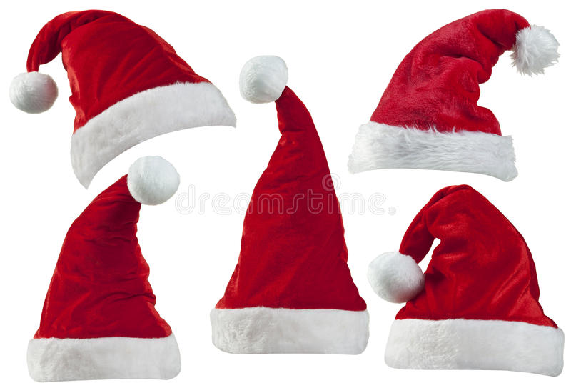 Chapéus de Santa do Natal imagem de stock