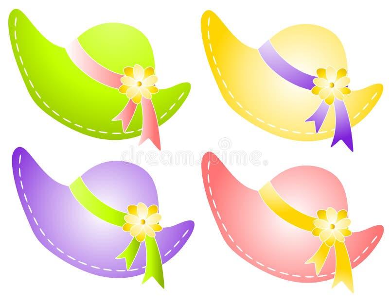 Chapéus de Sunbonnet da mola com fita das flores ilustração stock