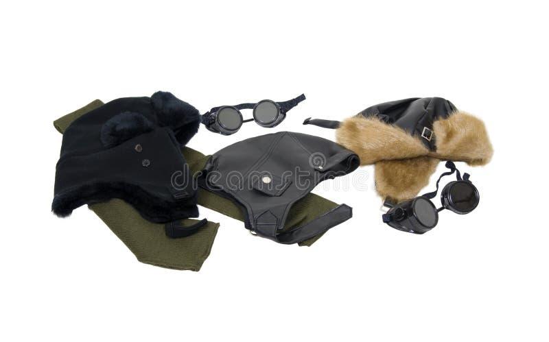 Chapéus do aviador do couro e da pele fotos de stock