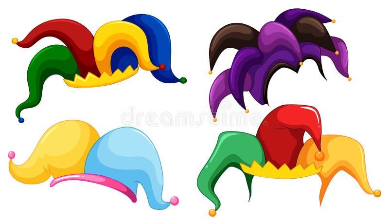 Chapéus do bobo da corte em cores diferentes ilustração royalty free