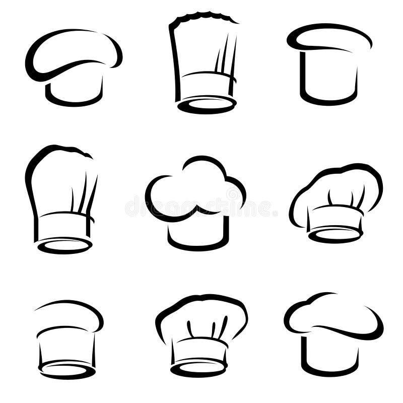 Chapéus do cozinheiro chefe ajustados Vetor ilustração royalty free