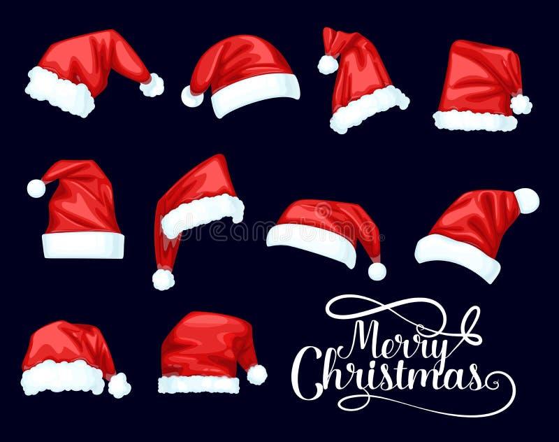 Chapéus do vermelho de Santa Claus do Feliz Natal ilustração do vetor