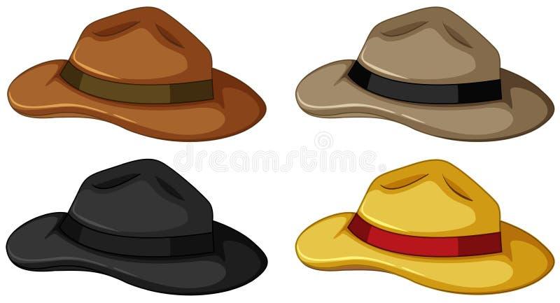 Chapéus em quatro cores diferentes ilustração royalty free