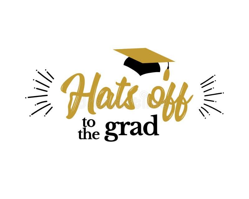 Chapéus fora aos graduados de Congrats do graduado ilustração royalty free