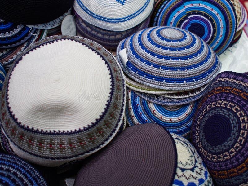 Chapéus judaicos do Yarmulke tradicional de Kippah imagens de stock royalty free