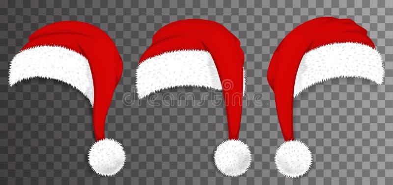 Chapéus vermelhos de Santa Claus do Natal isolados no fundo transparente Vetor ilustração stock