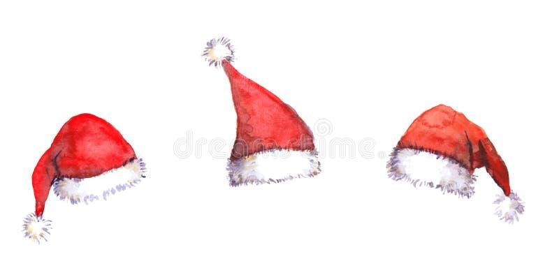 Chapéus vermelhos de Santa do Natal, aquarela ilustração royalty free