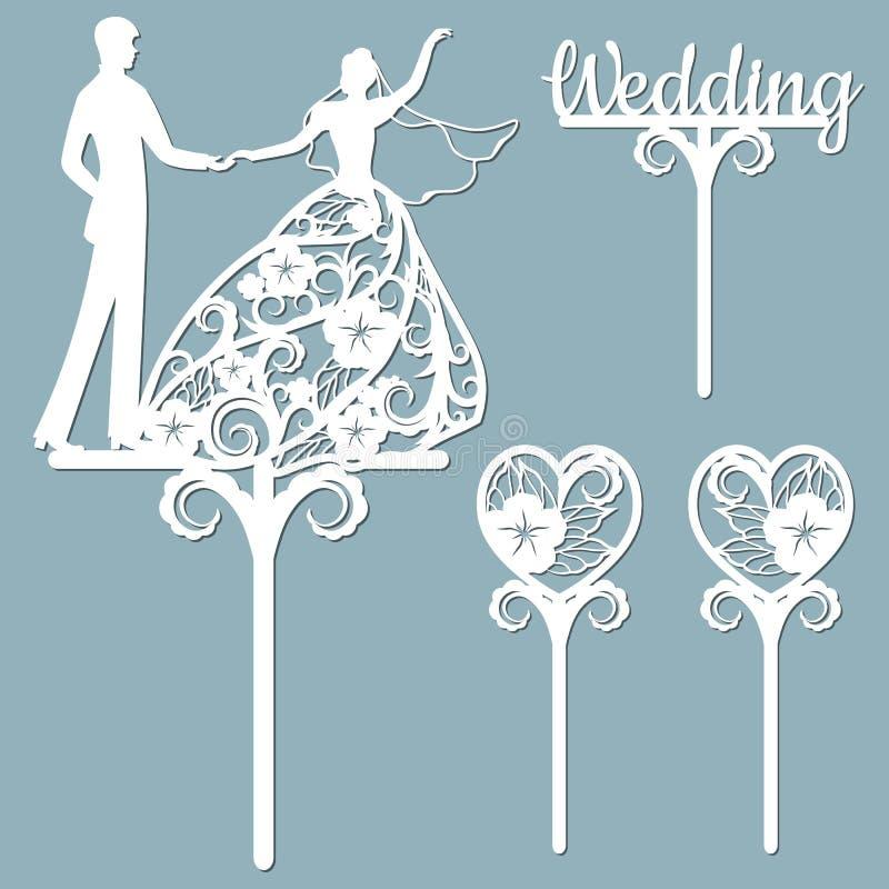 Chap?u de coco do bolo de casamento para o laser ou tritura??o cortada Gr?ficos de vetor Testes padr?es para cortar Dan?a, flores ilustração do vetor