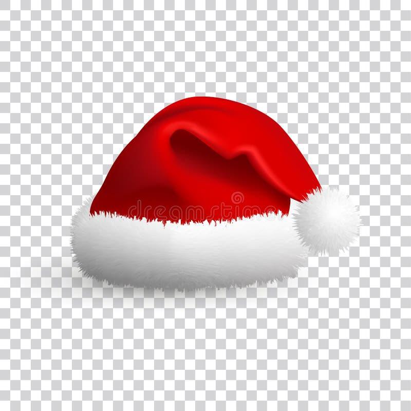 Chap?u de Santa Claus isolado no fundo transparente Vetor real?stico ilustra??o 3D ilustração stock
