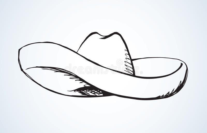 Chap?u mexicano do sombreiro Desenho do vetor ilustração royalty free