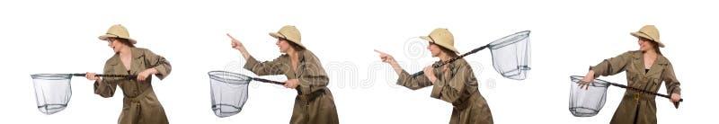 Chap?u vestindo do safari da mulher no branco fotos de stock