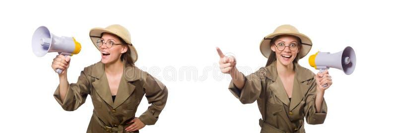 Chap?u vestindo do safari da mulher no branco imagem de stock royalty free