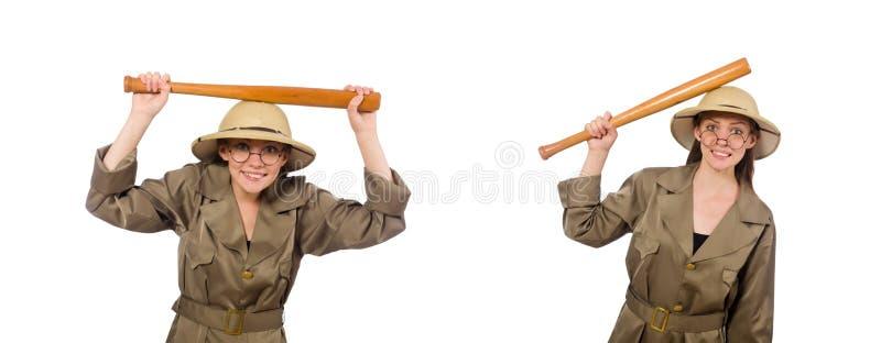 Chap?u vestindo do safari da mulher no branco fotografia de stock royalty free