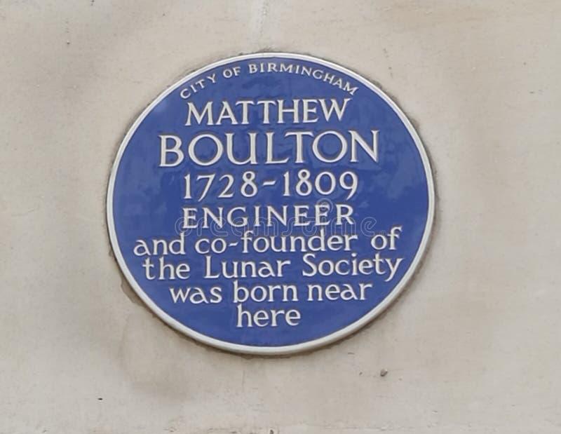 Chapa azul de Matthew Boulton em Birmingham, Inglaterra imagens de stock