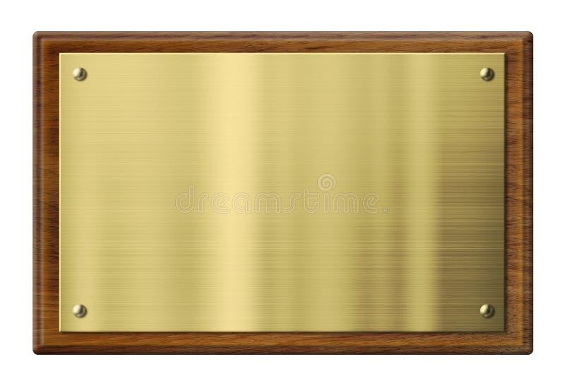 Chapa de madeira com a placa de metal do bronze ou do ouro fotos de stock royalty free