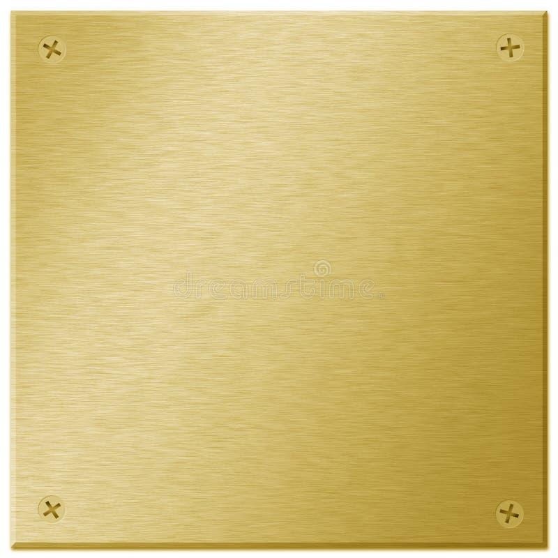 Chapa de metal do ouro com parafusos ilustração royalty free