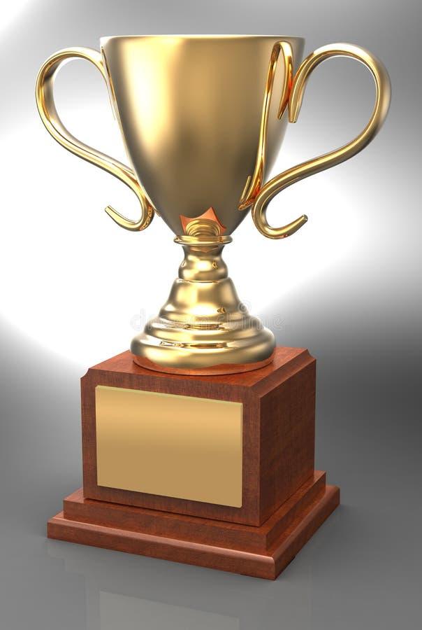 Chapa de vencimento do copo da concessão do troféu do ouro ilustração royalty free