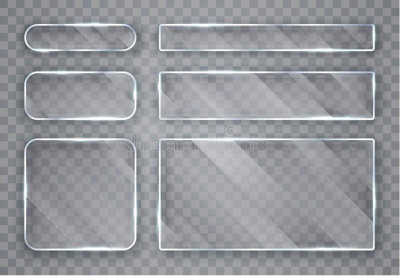 Chapa de vidro ajustadas Bandeiras de vidro no fundo transparente Vidro liso Ilustra??o do vetor ilustração stock
