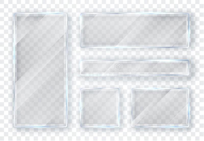 Chapa de vidro ajustadas Bandeiras de vidro no fundo transparente Vidro liso Ilustra??o do vetor ilustração royalty free