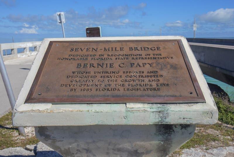 Chapa memorável da ponte de sete milhas, chaves de Florida foto de stock