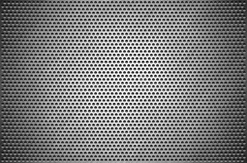 A chapa metálica cinzenta do fundo da textura perfurou Placa de aço com furos ilustração stock