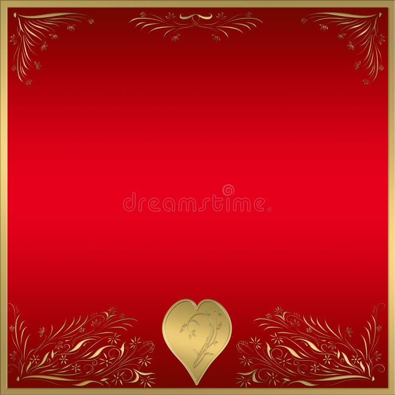 Chapa vermelha do frame do coração do ouro   ilustração do vetor