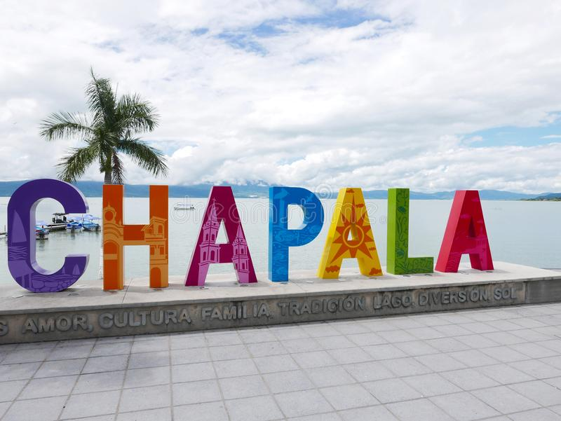 Outdoor sign at Chapala-Mexico stock photography