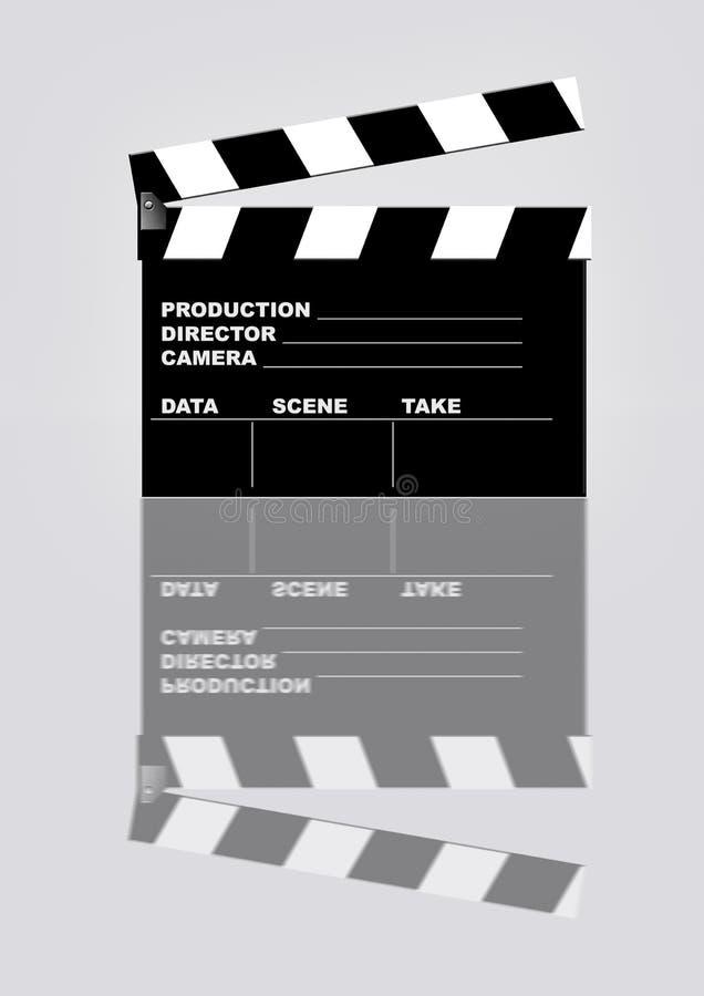 Chapaleta de la película con la reflexión ilustración del vector