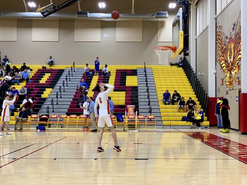 2018-19 Chaparral Firebird Basketball vs. Sandra Day O`Connor Eagles royalty free stock photos