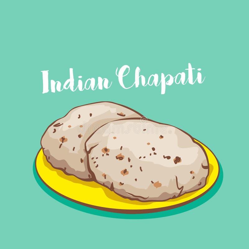 Chapati de la comida o comida indio del vector del roti en la placa libre illustration