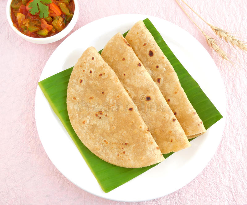 Chapati indiano do alimento imagens de stock