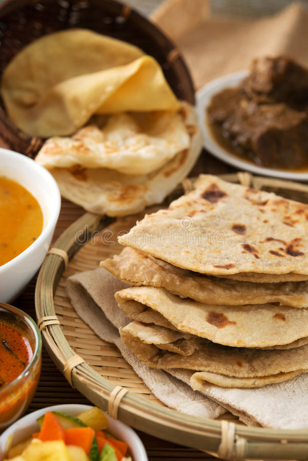 Chapati lub mieszkanie chleb fotografia stock